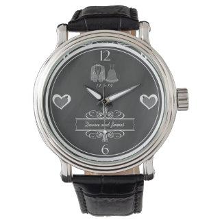 黒板の結婚式の記念品の腕時計 腕時計