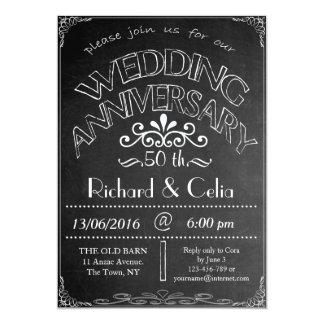 黒板の結婚記念日の招待状第50 12.7 X 17.8 インビテーションカード
