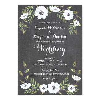 黒板の色彩の鮮やかなアネモネ-結婚式招待状 カード