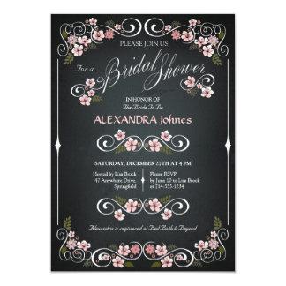 黒板の花のブライダルシャワーの上品のヴィンテージ 12.7 X 17.8 インビテーションカード