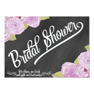 黒板の花のブライダルシャワーの招待状 カード