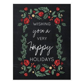 黒板の花の庭のホリデーカード ポストカード