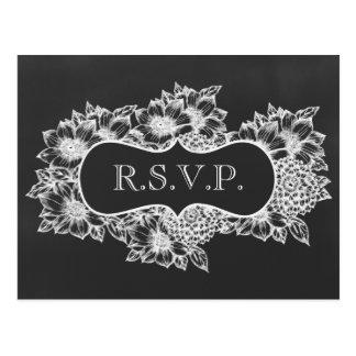 黒板の花の結婚式のrsvp ポストカード
