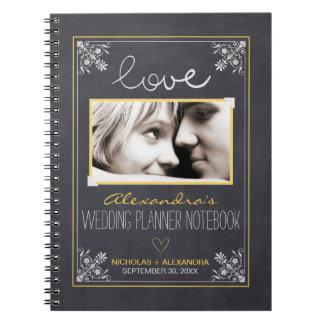 黒板の花嫁のウェディングプランナーのノート(黄色) ノートブック