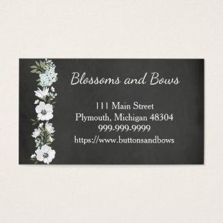 黒板の花屋の名刺の白い花 名刺