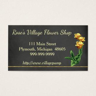 黒板の花屋の名刺の黄色バラ 名刺