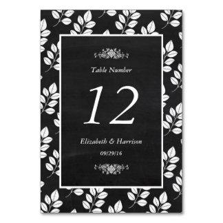 黒板の花葉の結婚式のテーブルいいえ