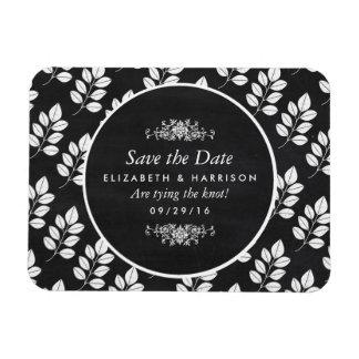 黒板の花葉の結婚式の保存日付 マグネット