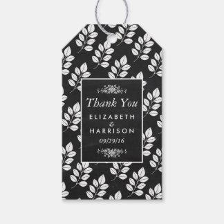 黒板の花葉の結婚式 ギフトタグパック