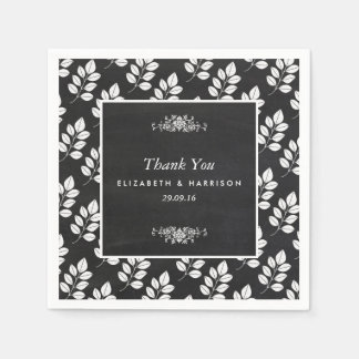 黒板の花葉の結婚式 スタンダードカクテルナプキン
