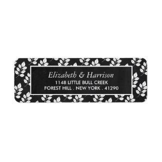 黒板の花葉の結婚式 返信用宛名ラベル