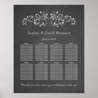 黒板の華麗さおよび渦巻の座席の図表 ポスター