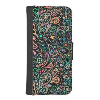 黒板の落書きのペイズリーのiPhoneの財布 iPhoneSE/5/5sウォレットケース