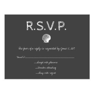 黒板の行先の結婚式の貝RSVPカード ポストカード