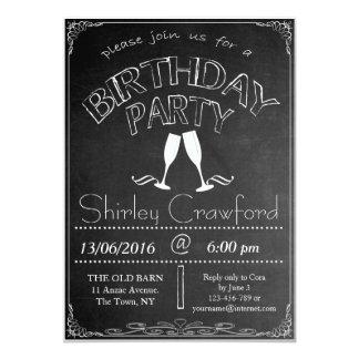 黒板の誕生祝いの招待状 カード