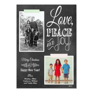 黒板の赤い緑のWashiテープ休日の写真カード カード