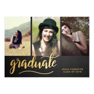 黒板の金ゴールドの卒業生の原稿 の3写真 カード