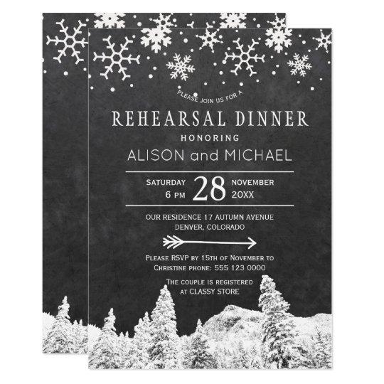 黒板の雪片の冬のリハーサルの夕食 12.7 X 17.8 インビテーションカード