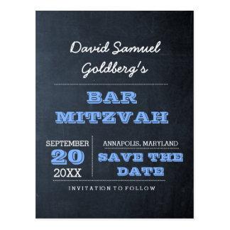 黒板の青いバーの(ユダヤ教の)バル・ミツバーの保存日付 ポストカード