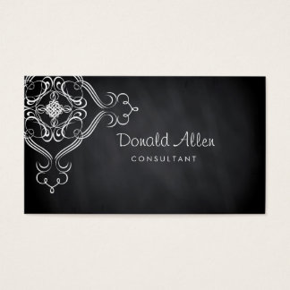 黒板の黒いヴィンテージのプロフェッショナルのダマスク織 名刺