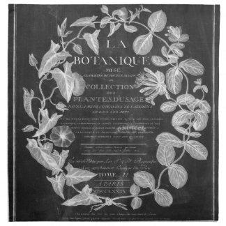黒板はフランスのな植物の芸術のキヅタの葉の台本を書きます ナプキンクロス