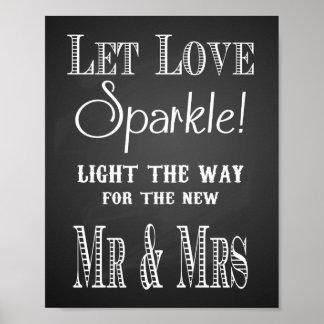 黒板は愛輝きが方法プリントをつけるようにしました ポスター
