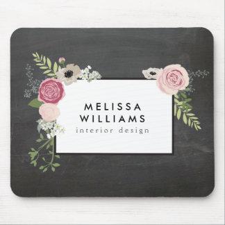 黒板デザイナーのヴィンテージのモダンな花のモチーフ マウスパッド