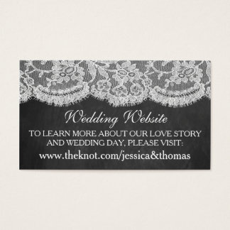 黒板及びレースの結婚式のコレクションのウェブサイト 名刺