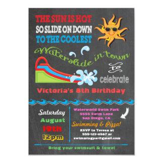 黒板水スライドのプールの誕生会 カード