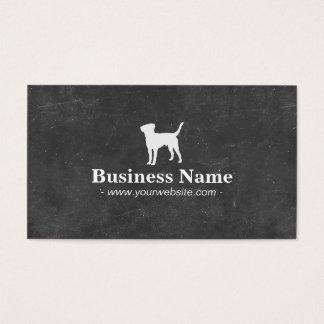 黒板犬のシルエットのペットの世話 名刺