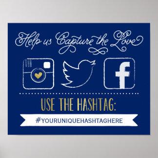 黒板社会的な媒体のHashtag |の結婚の装飾 ポスター