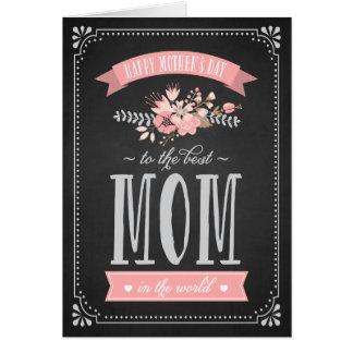 黒板|の母の日カードのピンクの花 グリーティングカード