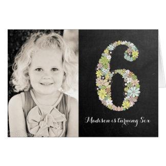 黒板|女の子|花柄|第6|誕生日|パーティ|招待 カード