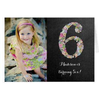黒板|女の子|花柄|第6|誕生日|パーティ|招待 グリーティングカード