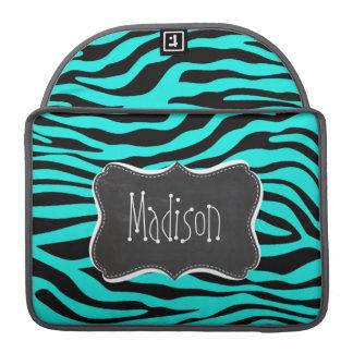黒板; 明るいターコイズのシマウマのアニマルプリント MacBook PROスリーブ