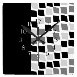 黒檀およびアイボリー スクエア壁時計