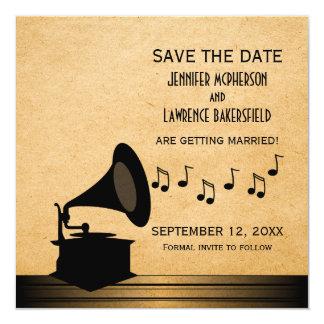 黒檀のヴィンテージの蓄音機の保存日付の招待 カード