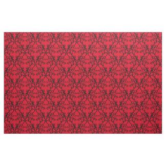 黒檀の赤いパリのダマスク織パターン生地 ファブリック