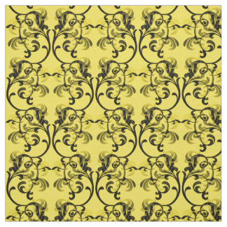 黒檀の黄色いパリのダマスク織パターン生地 ファブリック