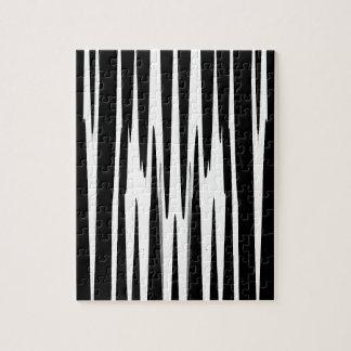 黒檀及びアイボリー(シマウマのストライプな抽象美術)の~ ジグソーパズル