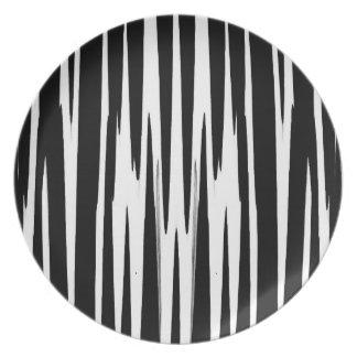 黒檀及びアイボリー(シマウマのストライプな抽象美術)の~ プレート