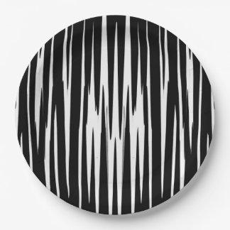 黒檀及びアイボリー(シマウマのストライプな抽象美術)の~ ペーパープレート