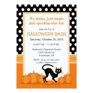 黒猫およびカボチャハローウィンパーティの招待状 カード