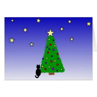 黒猫およびクリスマスツリー カード