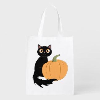 黒猫およびハロウィンのカボチャトリック・オア・トリートのバッグ エコバッグ
