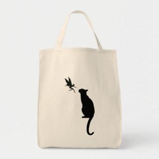 黒猫および妖精のシルエット トートバッグ