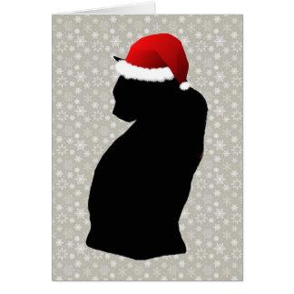 黒猫および雪片の休日カード カード