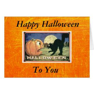 黒猫が付いているヴィンテージのハッピーハローウィンのカボチャ カード