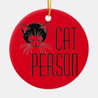 黒猫とのかわいい猫人のデザイン セラミックオーナメント