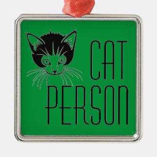 黒猫とのかわいい猫人のデザイン メタルオーナメント